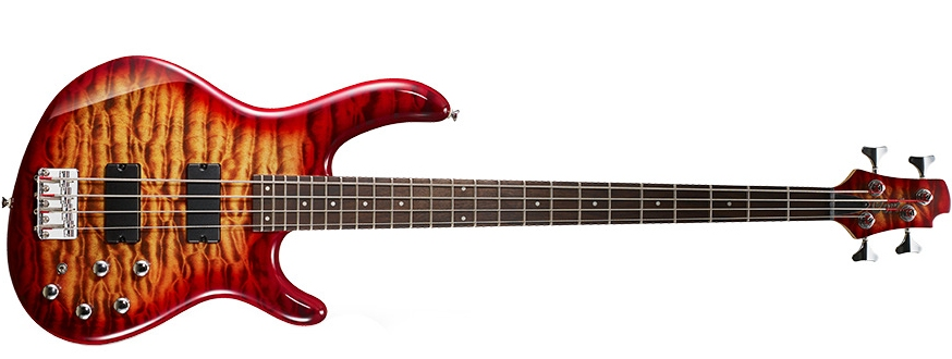 Cort Action DLX Plus - 4 String Bass in Cherry Red Sunburst